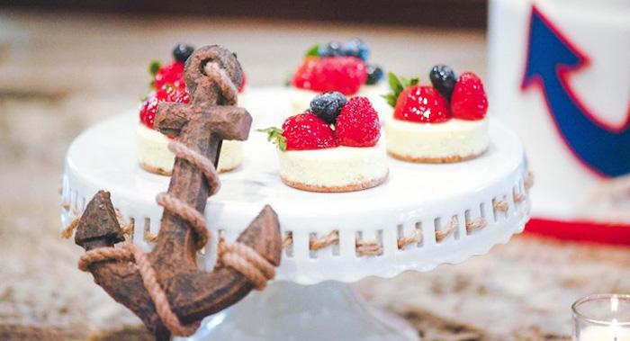 Mini Cheesecakes From A Nautical Baby Shower Birthday Party Via Karas Ideas