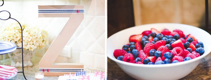 """Z"" Letter Decoration + Fresh Fruit Bowl from a Nautical Baby Shower + Birthday Party via Kara's Party Ideas 