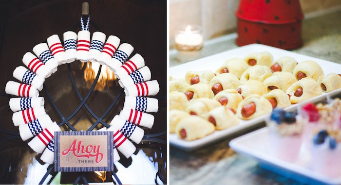 Wreath + Pigs In A Blanket From A Nautical Baby Shower + Birthday Party Via  Karau0027s