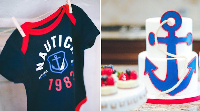 Onesie + Cake from a Nautical Baby Shower + Birthday Party via Kara's Party Ideas | The Place for All Things Party! KarasPartyIdeas.com (26)