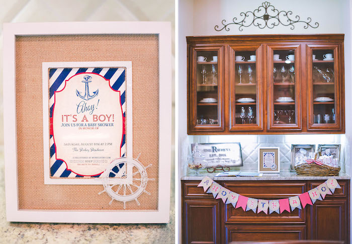 Invitation + Decor from a Nautical Baby Shower + Birthday Party via Kara's Party Ideas | The Place for All Things Party! KarasPartyIdeas.com (24)