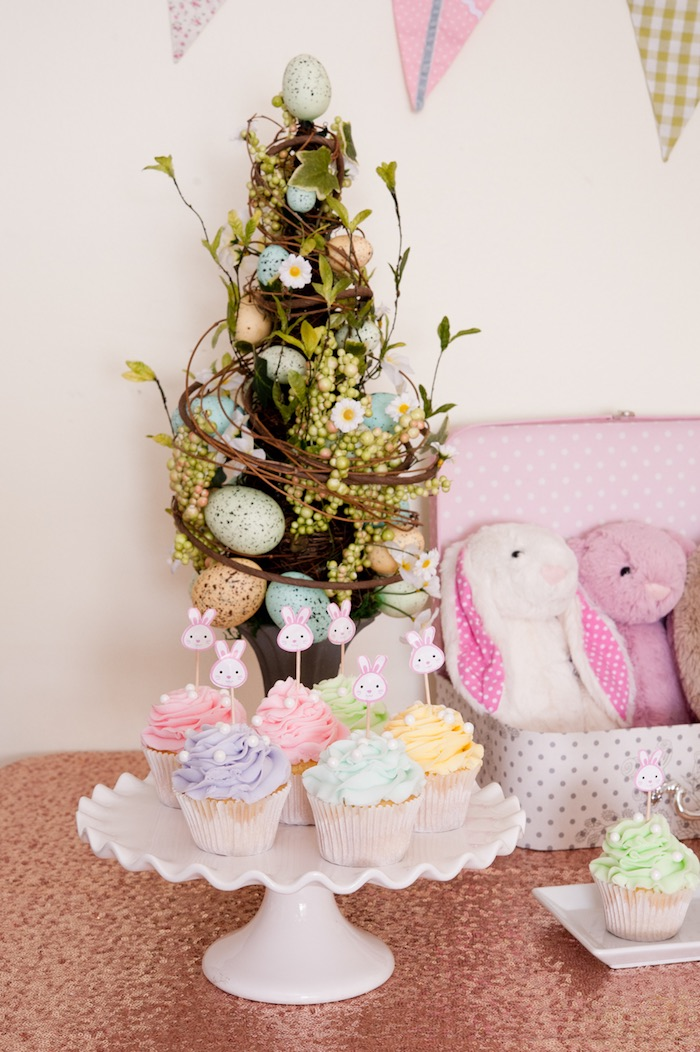 Cupcakes + Decor from a Pastel Easter Party via Kara's Party Ideas! KarasPartyIdeas.com (11)