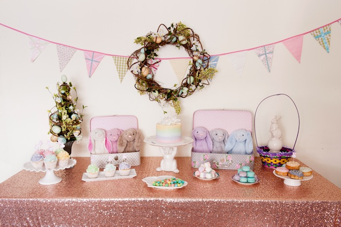 Full Shot of a Sweet Table from a Pastel Easter Party via Kara's Party Ideas! KarasPartyIdeas.com (26)
