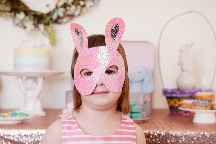 Little Girl in a Pink Sequined Bunny Mask from a Pastel Easter Party via Kara's Party Ideas! KarasPartyIdeas.com (7)