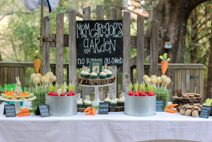 Sweet Table from a Peter Rabbit Birthday Party via Kara's Party Ideas | KarasPartyIdeas.com | The Place for All Things Party! (16)