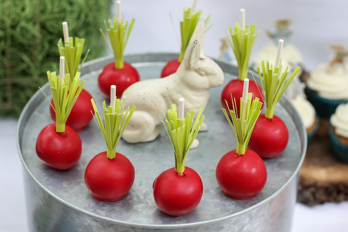 Radish Cake Pops from a Peter Rabbit Birthday Party via Kara's Party Ideas | KarasPartyIdeas.com | The Place for All Things Party! (11)