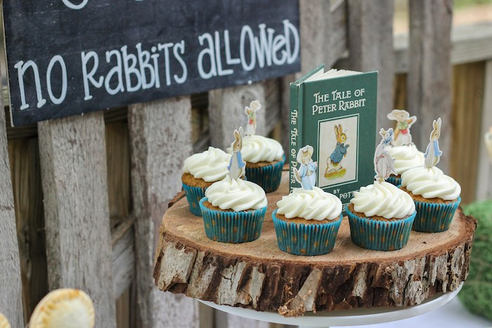 Cupcakes from a Peter Rabbit Birthday Party via Kara's Party Ideas | KarasPartyIdeas.com | The Place for All Things Party! (10)