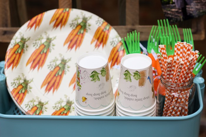 Partyware from a Peter Rabbit Birthday Party via Kara's Party Ideas | KarasPartyIdeas.com | The Place for All Things Party! (24)
