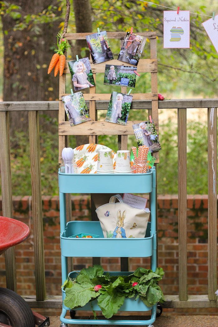 Cart filled with Partyware + Decor from a Peter Rabbit Birthday Party via Kara's Party Ideas | KarasPartyIdeas.com | The Place for All Things Party! (23)