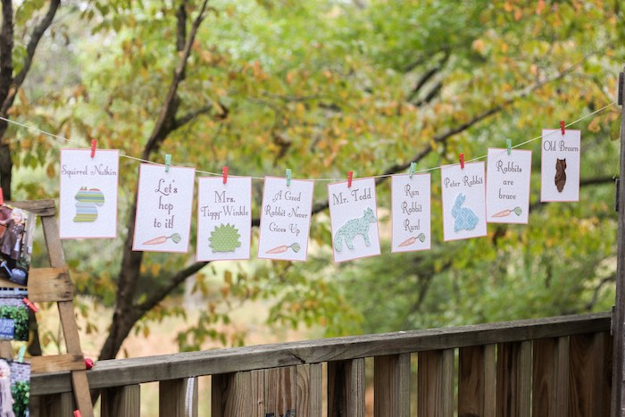 Banner + Bunting from a Peter Rabbit Birthday Party via Kara's Party Ideas | KarasPartyIdeas.com | The Place for All Things Party! (22)