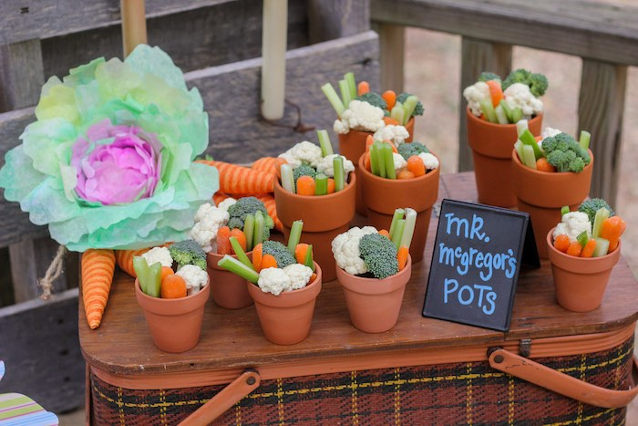 Mr. McGregor's Veggie Pots from a Peter Rabbit Birthday Party via Kara's Party Ideas | KarasPartyIdeas.com | The Place for All Things Party! (19)