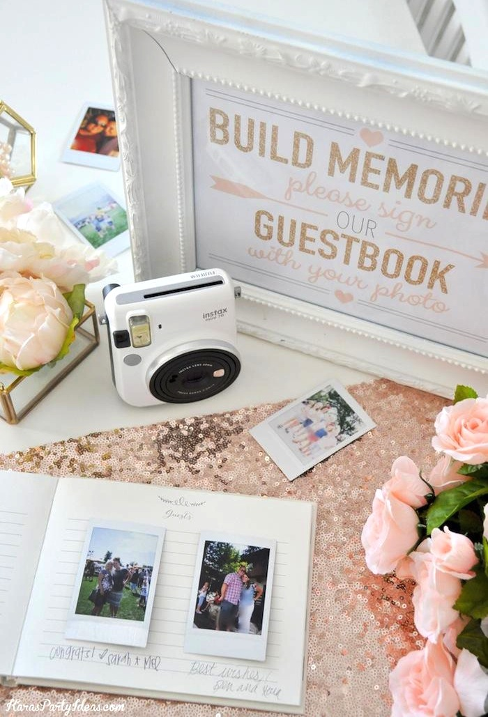 Photo Wedding Bridal Shower Guest Book with Fuji Instax | Kara's Party Ideas | Kara Allen 2