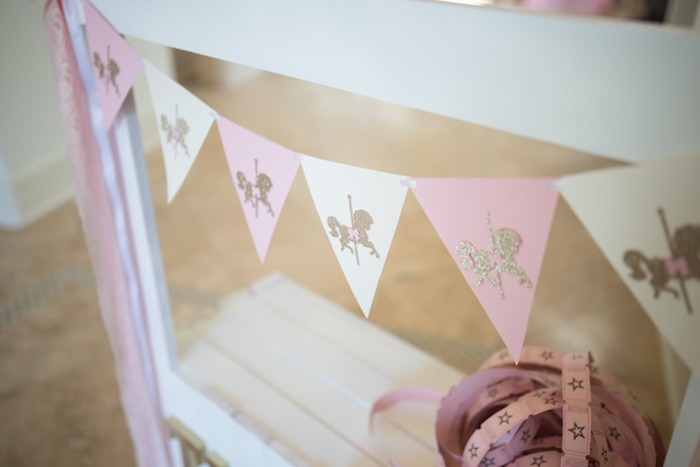 Pennant Banner from a Pink Carousel Birthday Party via Kara's Party Ideas! KarasPartyIdeas.com (33)