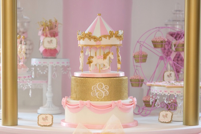 Cake + Sweets from a Pink Carousel Birthday Party via Kara's Party Ideas! KarasPartyIdeas.com (44)