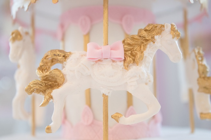 Cake Detail of a Carousel Pony from a Pink Carousel Birthday Party via Kara's Party Ideas! KarasPartyIdeas.com (25)