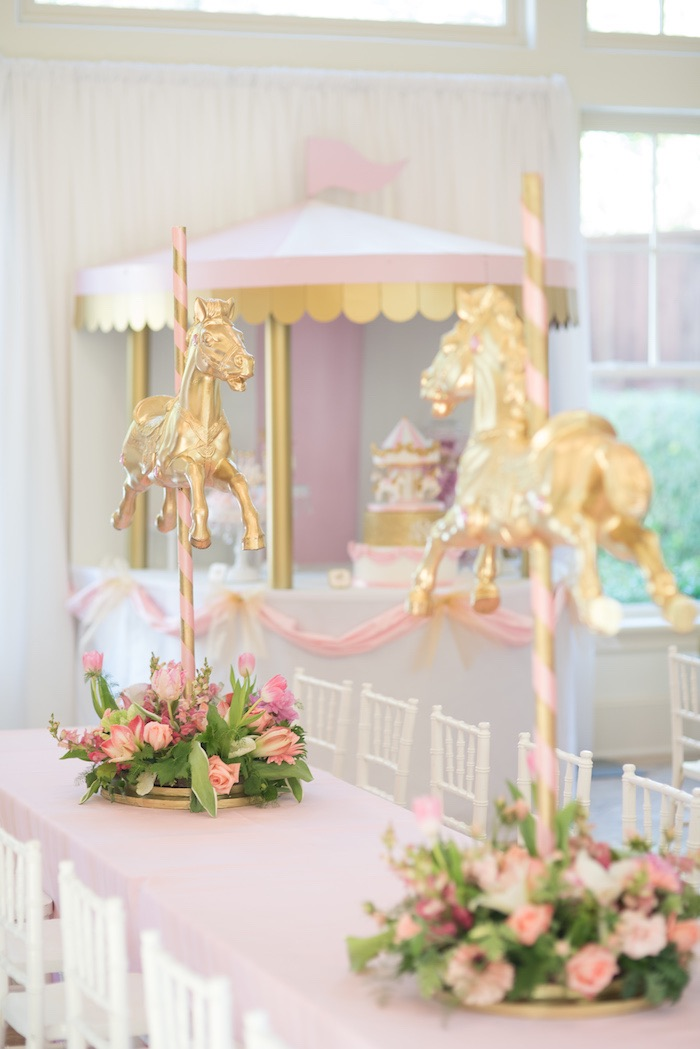 Guest + Sweet Table from a Pink Carousel Birthday Party via Kara's Party Ideas! KarasPartyIdeas.com (23)