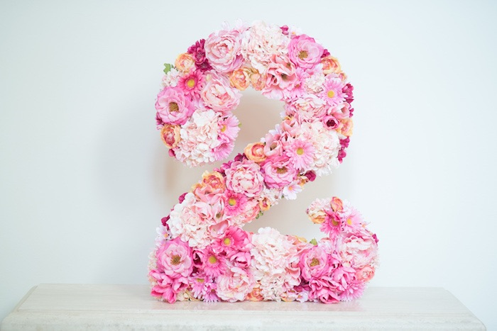 "Floral ""2"" from a Pink Carousel Birthday Party via Kara's Party Ideas! KarasPartyIdeas.com (22)"