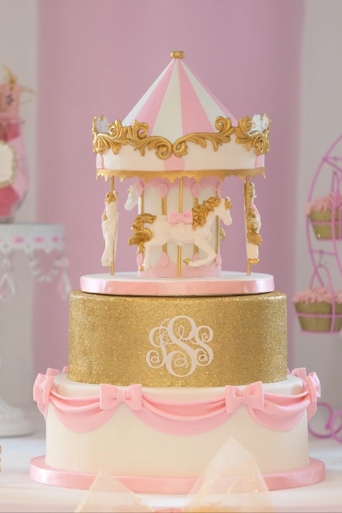 Karas Party Ideas Pink Carousel Birthday Party