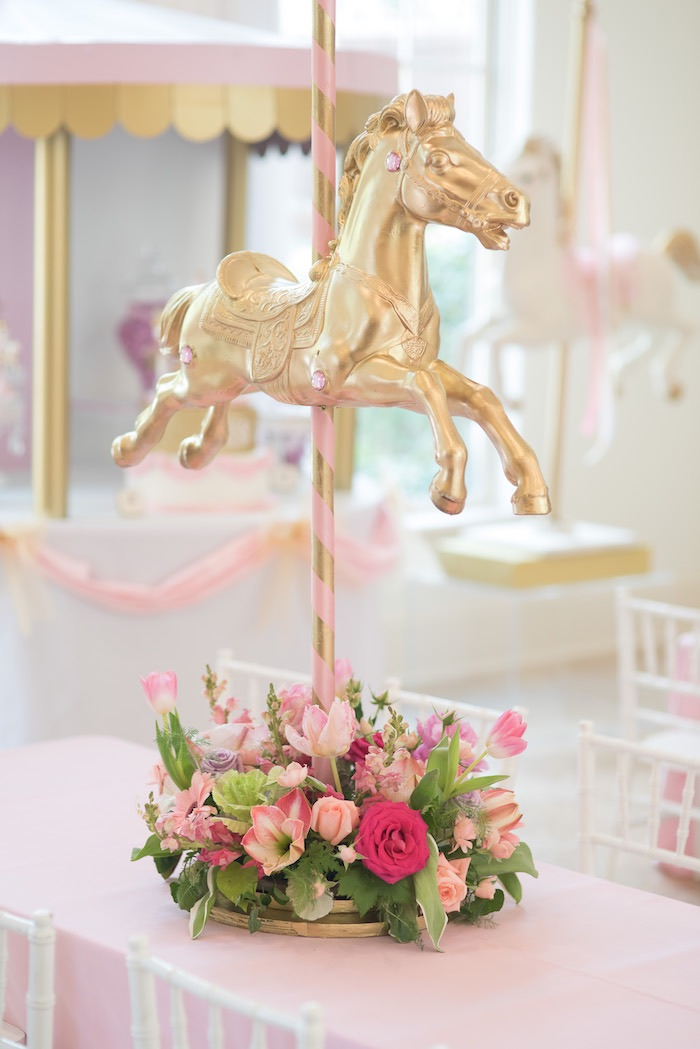 Karas Party Ideas Pink Carousel Birthday
