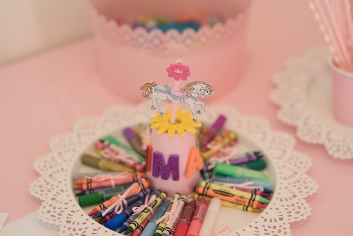 Crayon Carousel from a Pink Carousel Birthday Party via Kara's Party Ideas! KarasPartyIdeas.com (13)