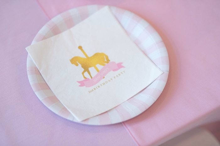 Place Setting from a Pink Carousel Birthday Party via Kara's Party Ideas! KarasPartyIdeas.com (7)