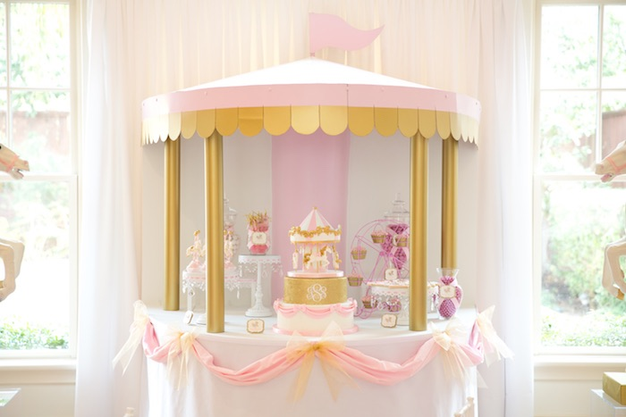 Phenomenal Kara39S Party Ideas Pink Carousel Birthday Party Kara39S Party Ideas Easy Diy Christmas Decorations Tissureus