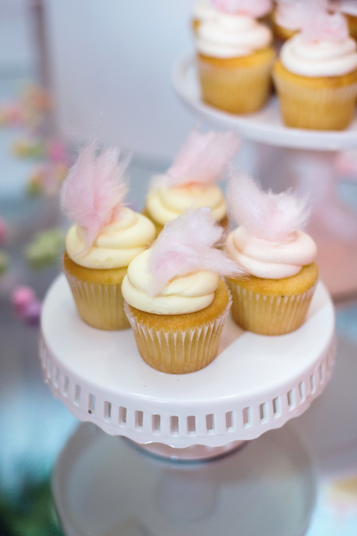 Cupcakes topped with Cotton Candy from a Pink Glam Corporate Birthday Party via Kara's Party Ideas! KarasPartyIdeas.com (20)