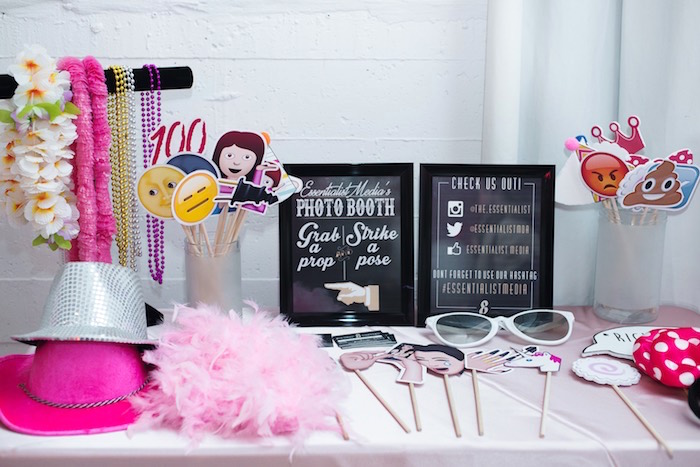 Photo Booth Prop Table from a Pink Glam Corporate Birthday Party via Kara's Party Ideas! KarasPartyIdeas.com (7)