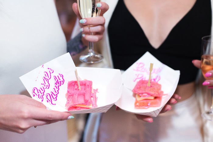 Pink Waffle Sandwiches from a Pink Glam Corporate Birthday Party via Kara's Party Ideas! KarasPartyIdeas.com (6)