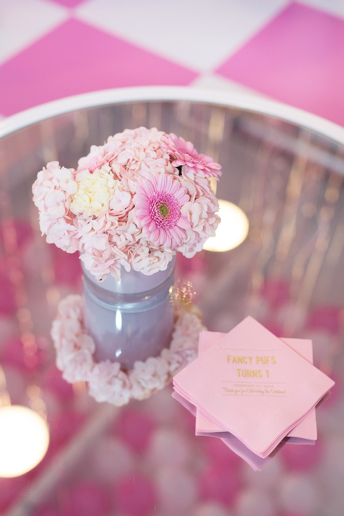 Floral Arrangement + Napkins from a Pink Glam Corporate Birthday Party via Kara's Party Ideas! KarasPartyIdeas.com (28)