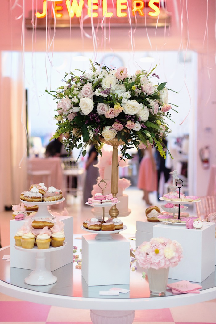 Sweet Table Display from a Pink Glam Corporate Birthday Party via Kara's Party Ideas! KarasPartyIdeas.com (22)