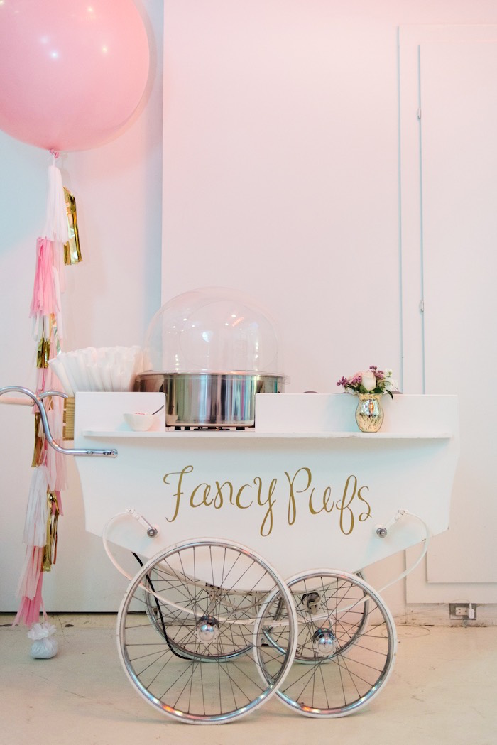 Cotton Candy Cart from a Pink Glam Corporate Birthday Party via Kara's Party Ideas! KarasPartyIdeas.com (21)