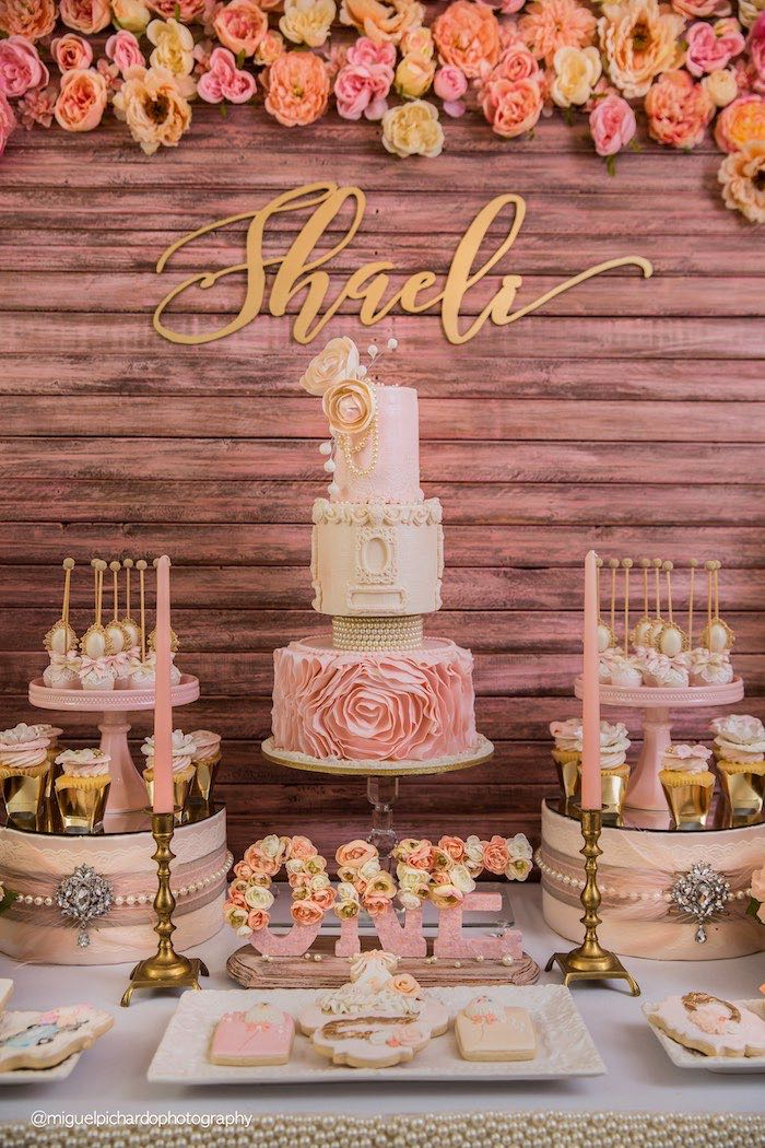 Sweet Table Details From A Pink Gold 1st Birthday Party Via Karas Ideas