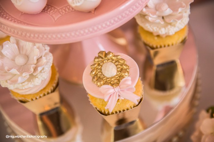 Cupcakes from a Pink + Gold 1st Birthday Party via Kara's Party Ideas | KarasPartyIdeas.com (31)