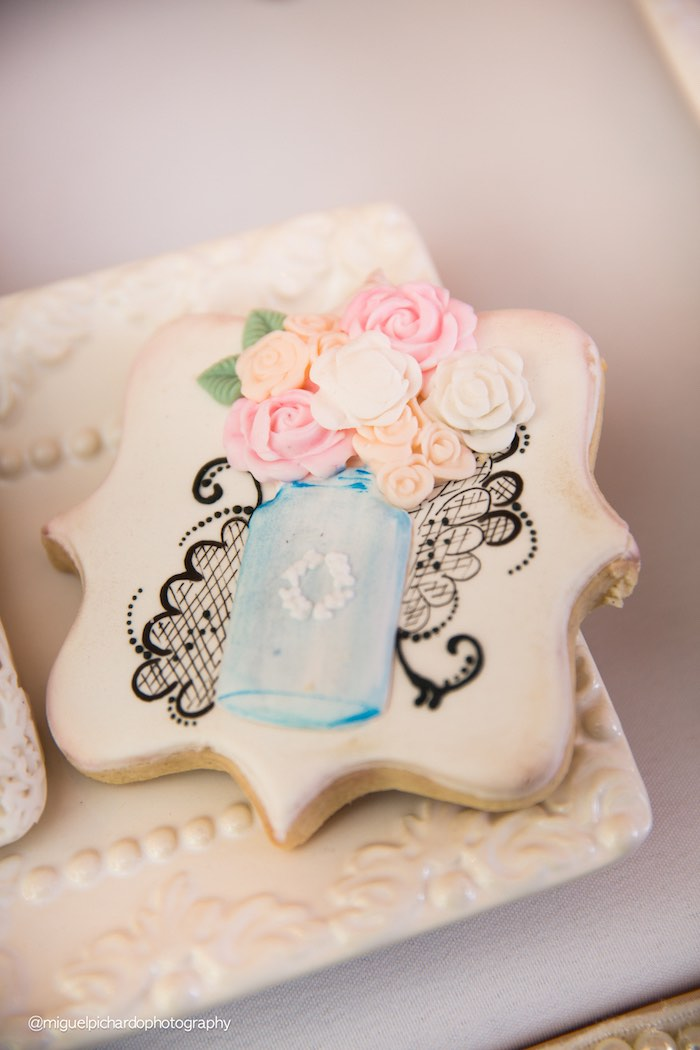 Cookie from a Pink + Gold 1st Birthday Party via Kara's Party Ideas | KarasPartyIdeas.com (30)