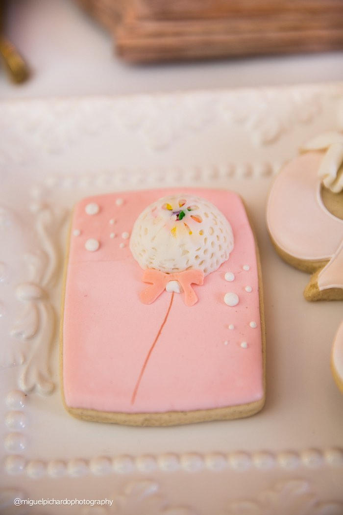 Cookie from a Pink + Gold 1st Birthday Party via Kara's Party Ideas | KarasPartyIdeas.com (29)
