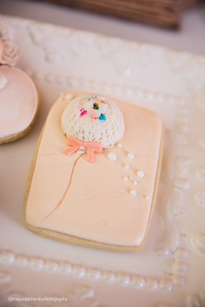 Cookie from a Pink + Gold 1st Birthday Party via Kara's Party Ideas | KarasPartyIdeas.com (28)