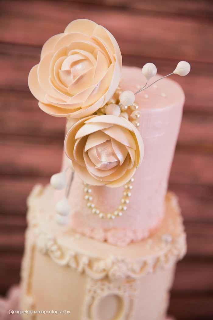Top of Cake from a Pink + Gold 1st Birthday Party via Kara's Party Ideas | KarasPartyIdeas.com (27)