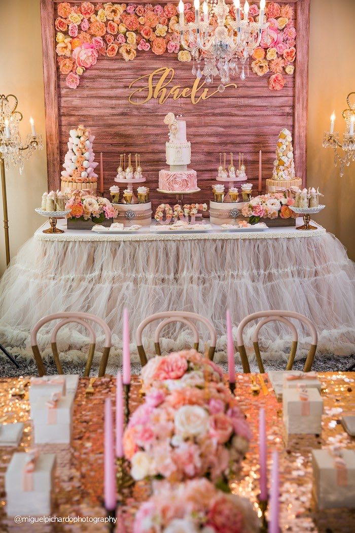 Kara 39 s party ideas party setup dessert table from a pink for 1st birthday decoration themes