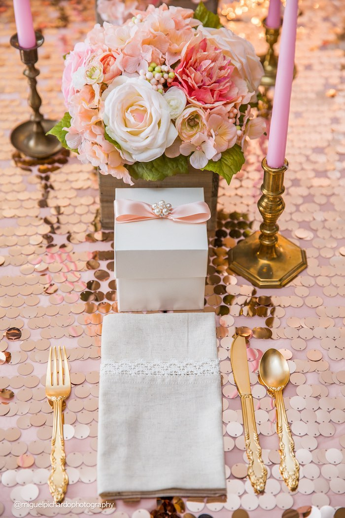 Place Setting from a Pink + Gold 1st Birthday Party via Kara's Party Ideas | KarasPartyIdeas.com (21)