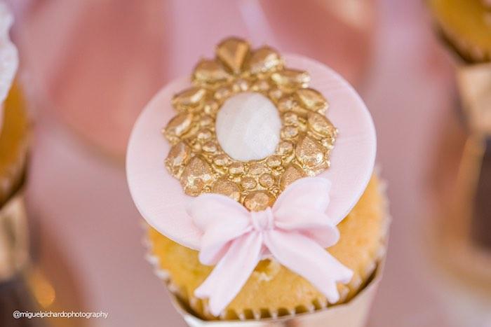 Cupcake from a Pink + Gold 1st Birthday Party via Kara's Party Ideas | KarasPartyIdeas.com (18)