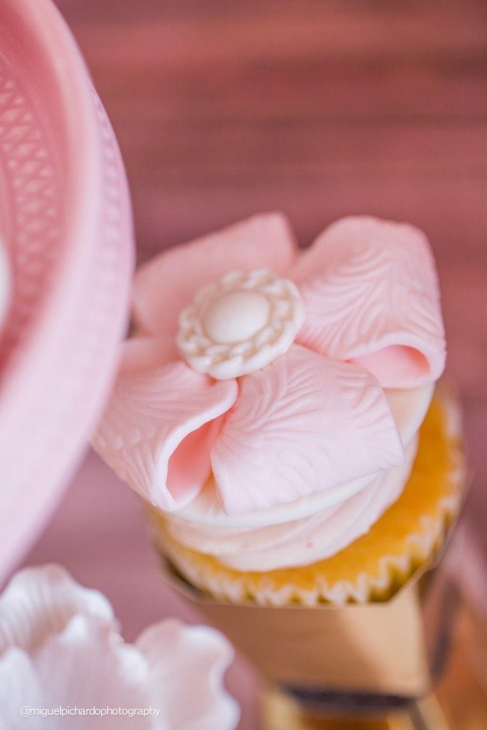 Cupcake from a Pink + Gold 1st Birthday Party via Kara's Party Ideas | KarasPartyIdeas.com (16)