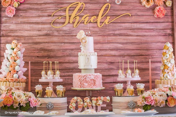 Close Up Shot Of A Sweet Table From Pink Gold 1st Birthday Party