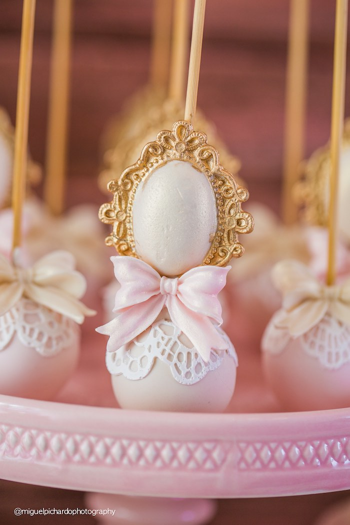 Cake Pop From A Pink Gold 1st Birthday Party Via Karas Ideas