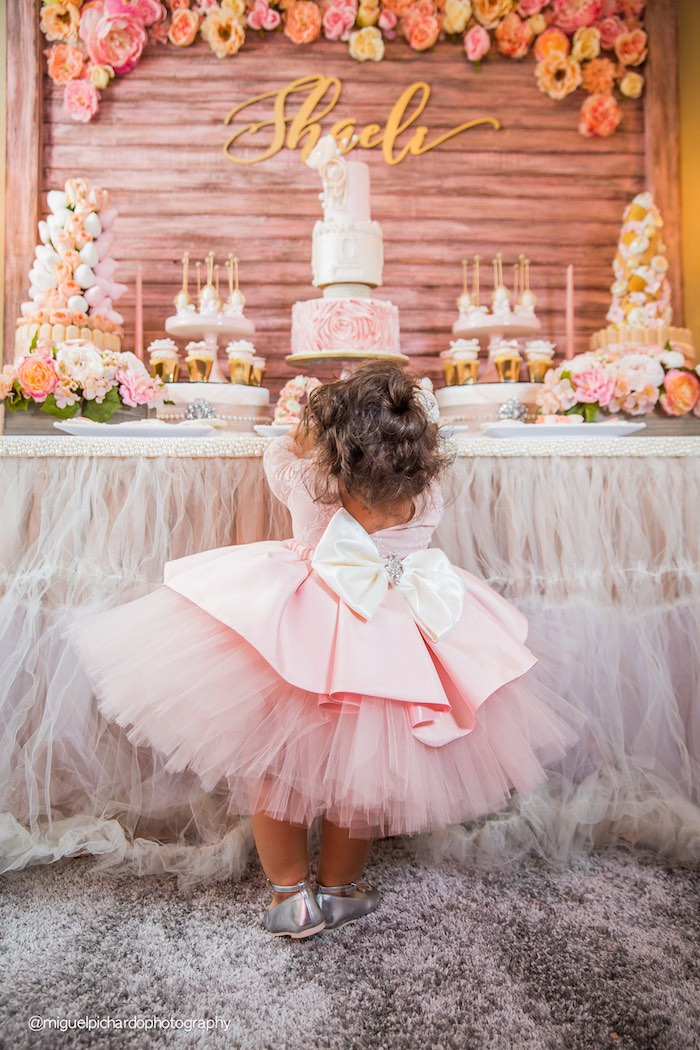 Kara\'s Party Ideas Pink + Gold 1st Birthday Party | Kara\'s Party Ideas