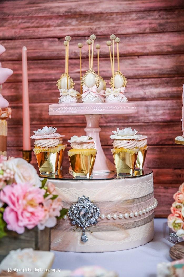 Cake Pop & Cupcake Display from a Pink + Gold 1st Birthday Party via Kara's Party Ideas | KarasPartyIdeas.com (6)