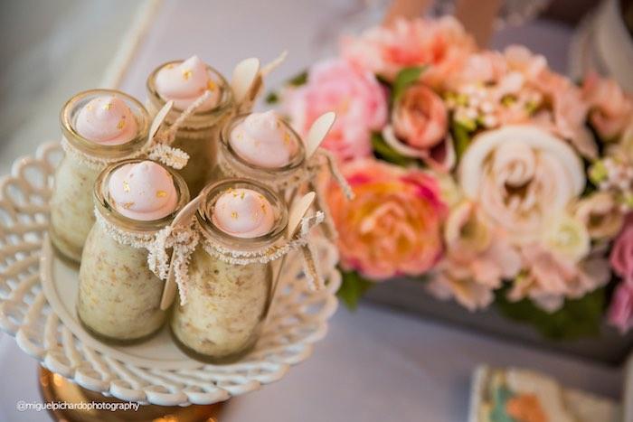 Dessert Jars from a Pink + Gold 1st Birthday Party via Kara's Party Ideas | KarasPartyIdeas.com (41)