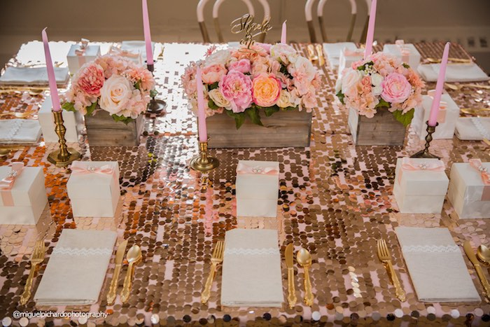 Guest Tablescape From A Pink Gold 1st Birthday Party Via Karas Ideas