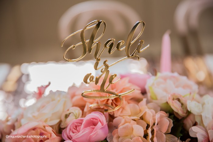 Gold Topper placed in a Floral Arrangement from a Pink + Gold 1st Birthday Party via Kara's Party Ideas | KarasPartyIdeas.com (37)