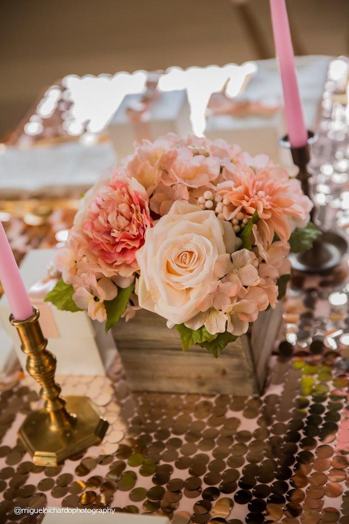 Floral Arrangement from a Pink + Gold 1st Birthday Party via Kara's Party Ideas | KarasPartyIdeas.com (36)
